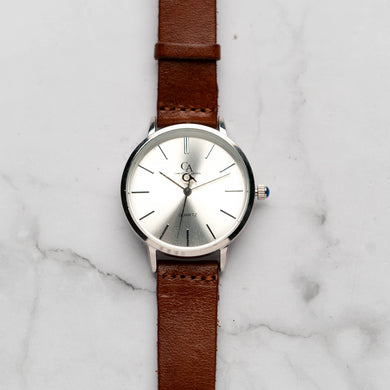 New Christyan Arden LENORE CA3207 - Around The World Edition - Silver Sunburst Dial - Brown Full Grain Strap (Wanita)