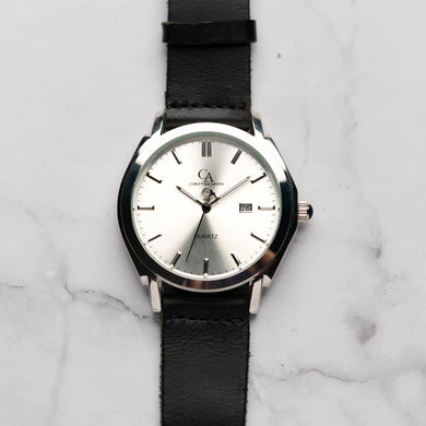 New Christyan Arden ICARUS CA-001 - Around The World Edition - Silver Sunburst Dial - Black Full Grain Strap (Pria)