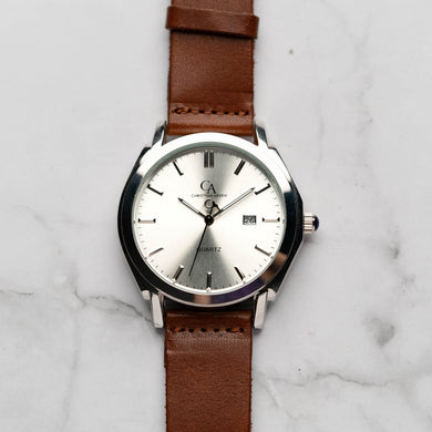New Christyan Arden ICARUS CA-001 - Around The World Edition - Silver Sunburst Dial - Brown Full Grain Strap (Pria)