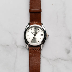 New Christyan Arden ICARUS CA-001 - Around The World Edition - Silver Sunburst Dial - Brown Full Grain Strap (Wanita)