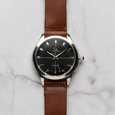 New Christyan Arden MILLICENT CA3214 - Around The World Edition - Black Dial - Brown Strap (Pria)