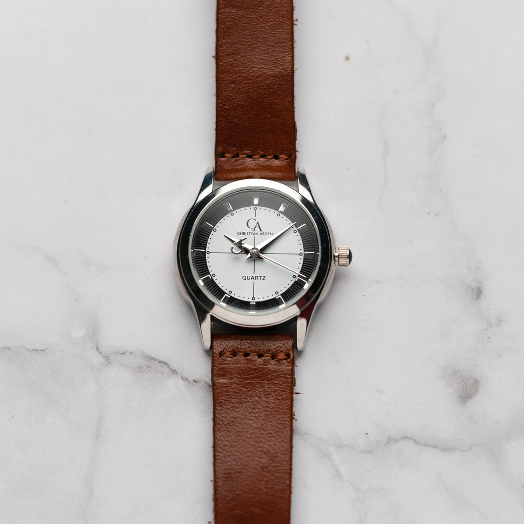 New Christyan Arden MILLICENT CA3214 - Around The World Edition - White Dial - Brown Full Grain Strap (Wanita)
