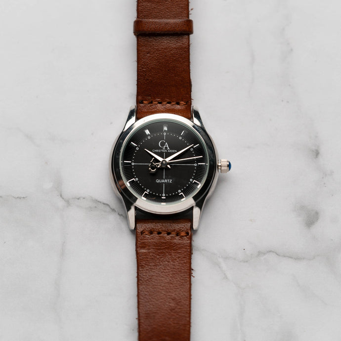 New Christyan Arden MILLICENT CA3214 - Around The World Edition - Black Dial - Brown Strap (Wanita)