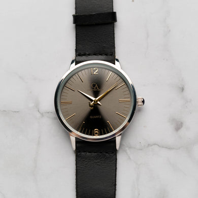 New Christyan Arden THEO CA3205 - Around The World Edition - Grey Sunburst Dial - Black Full Grain Strap (Pria)