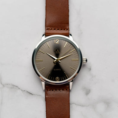 New Christyan Arden THEO CA3205 - Around The World Edition - Grey Sunburst Dial - Brown Full Grain Strap (Pria)