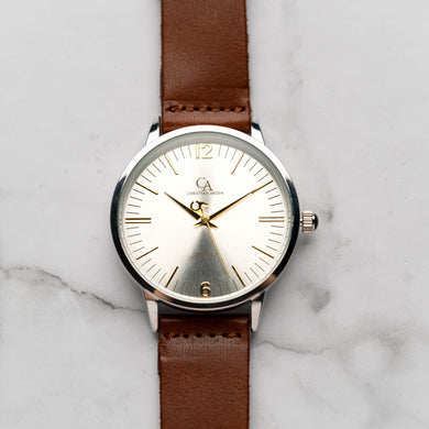 New Christyan Arden THEO CA3205 - Around The World Edition - Silver Sunburst Dial - Brown Full Grain Strap (Pria)
