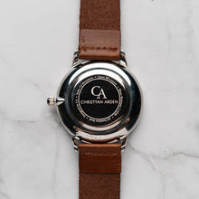 Muat gambar ke penampil Galeri, New Christyan Arden THEO CA3205 - Around The World Edition - Silver Sunburst Dial - Brown Full Grain Strap (Pria)