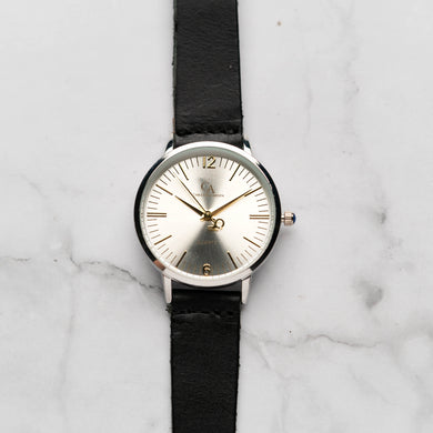 New Christyan Arden THEO CA3205 - Around The World Edition - Silver Sunburst Dial - Black Full Grain Strap (Wanita)