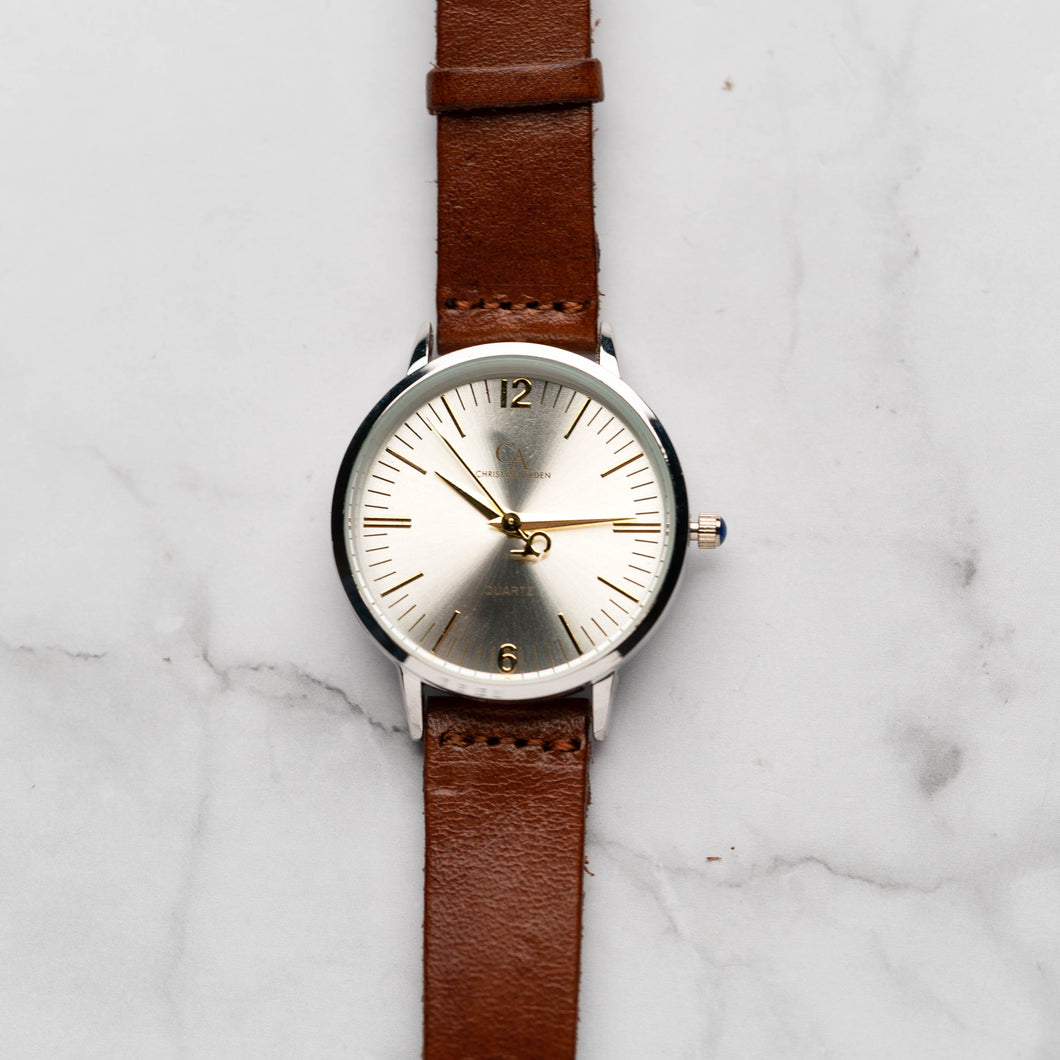 New Christyan Arden THEO CA3205 - Around The World Edition - Silver Sunburst Dial - Brown Full Grain Strap (Wanita)