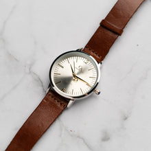 Load image into Gallery viewer, New Christyan Arden THEO CA3205 - Around The World Edition - Silver Sunburst Dial - Brown Full Grain Strap (Wanita)