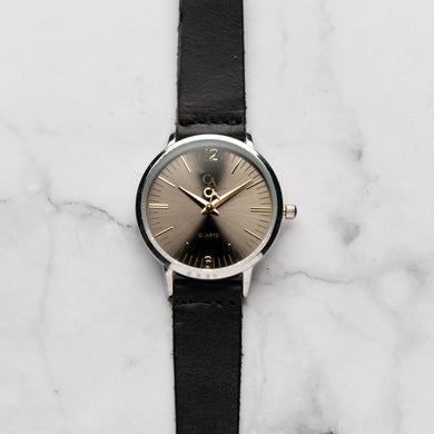 New Christyan Arden THEO CA3205 - Around The World Edition - Grey Sunburst Dial - Black Full Grain Strap (Wanita)