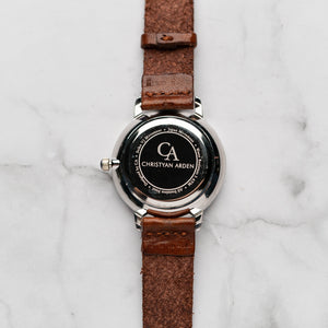 New Christyan Arden THEO CA3205 - Around The World Edition - Grey Sunburst Dial - Brown Full Grain Strap (Wanita)