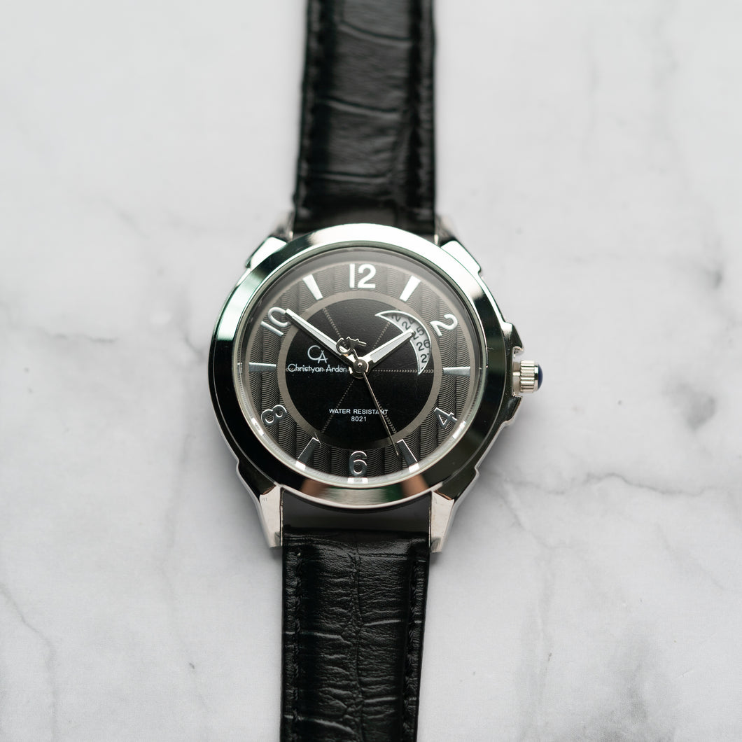 Christyan Arden Full Grain Leather CA8021 Black - Black Dial (Pria)