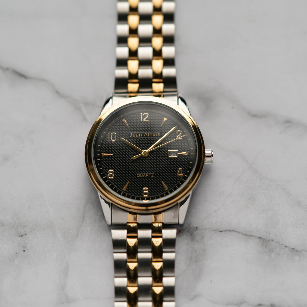 Jean Alexis JARL GKT JA114 - Prestige Edition - Gold & Silver Stainless Steel Strap - Gold Case - Black Dial (40mm)