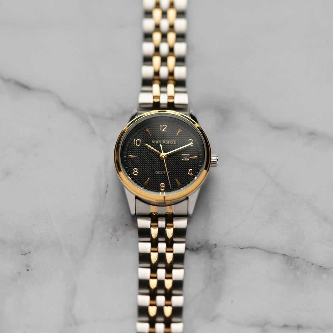 Jean Alexis JARL LKT JA114 - Prestige Edition - Gold & Silver Stainless Steel Strap - Gold Case - Black Dial (30mm)
