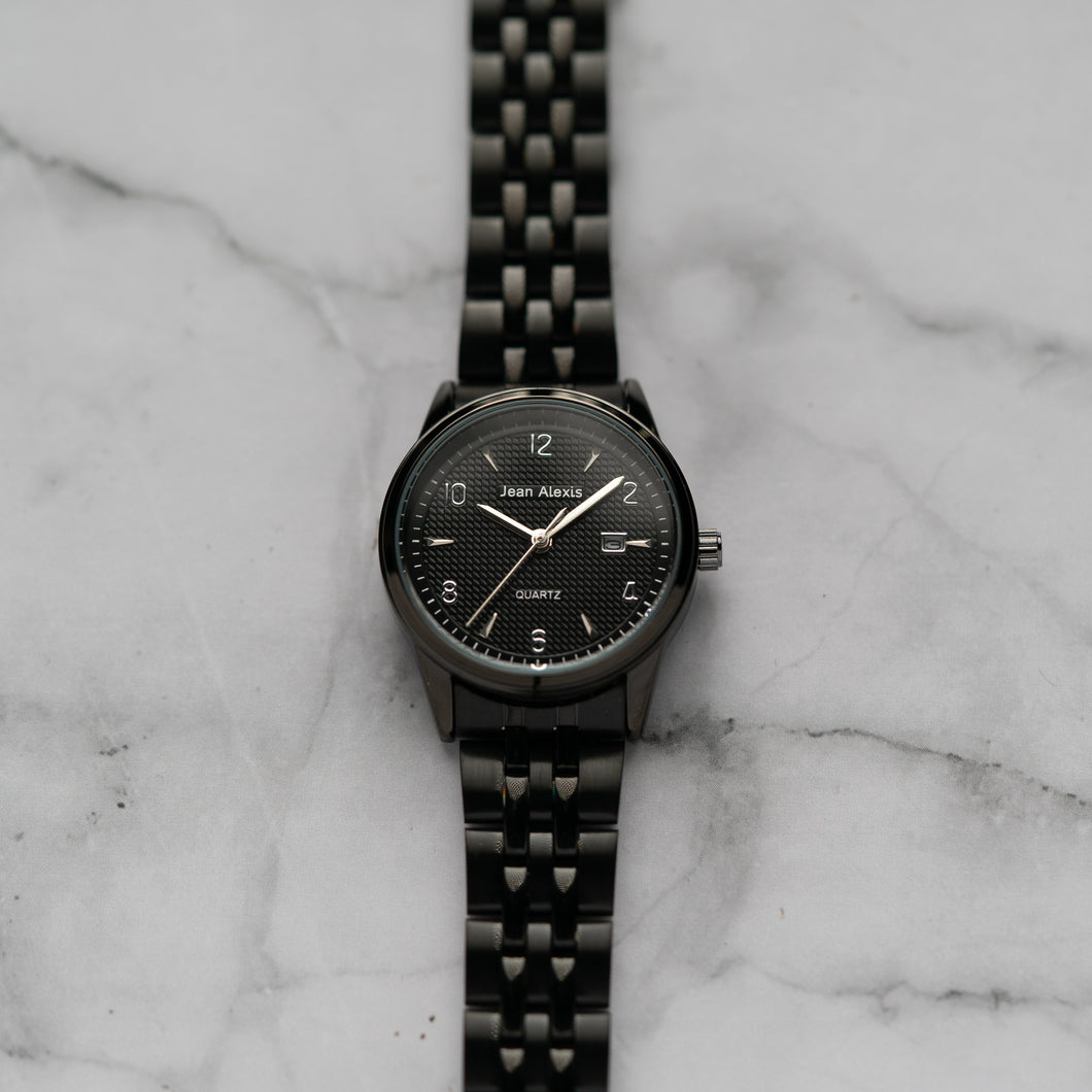 Jean Alexis JARL LHT JA114 - Prestige Edition - Black Stainless Steel Strap - Black Case - Black Dial (30mm)