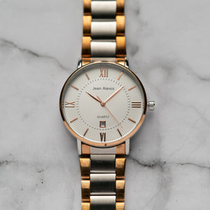 Jean Alexis HOLGER GST JA108 - Prestige Edition - RoseGold & Silver Stainless Steel Strap - RoseGold Case - White Dial (42mm)