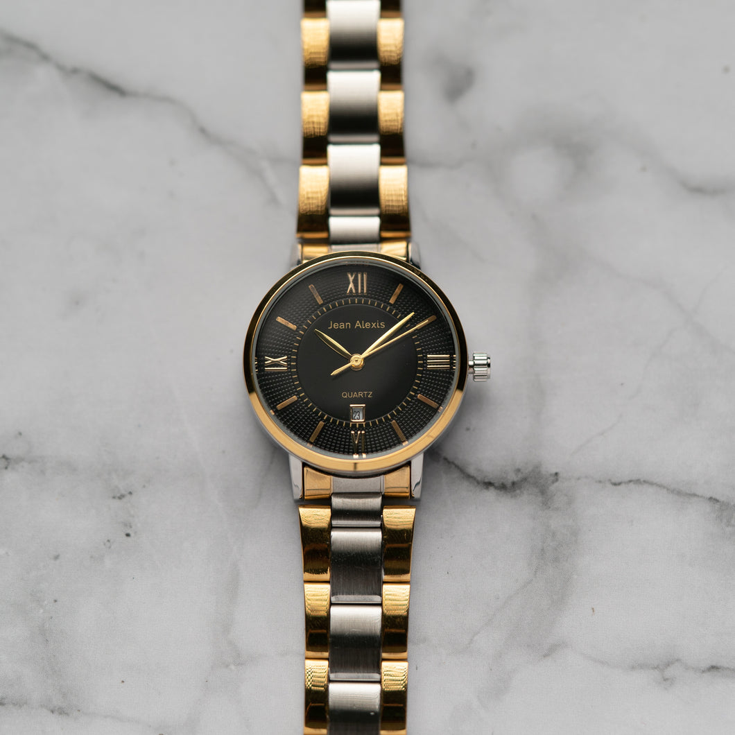 Jean Alexis HOLGER LKT JA108 - Prestige Edition - Gold & Silver Stainless Steel Strap - Gold Case - Black Dial (32mm)