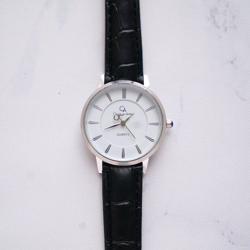 Christyan Arden Full Grain Leather CA0010 Black - White Dial (Wanita)
