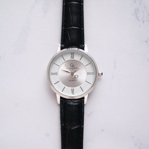 Christyan Arden Full Grain Leather CA0009 Black - White Dial (Wanita)