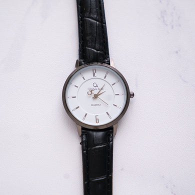 Christyan Arden Leather CA0024 Black - White Dial (Wanita)