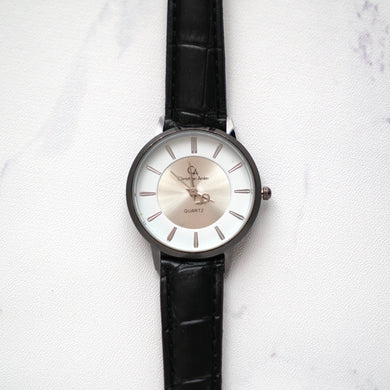 Christyan Arden Leather CA0030 Black - White Dial (Wanita)