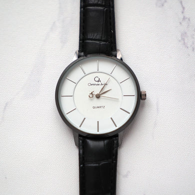 Christyan Arden Leather CA0028 Black - White Dial (Wanita)