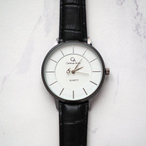 Christyan Arden Full Grain Leather CA0028 Black - White Dial (Wanita)