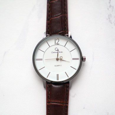Christyan Arden Leather CA0023 Brown - White Dial (Pria)