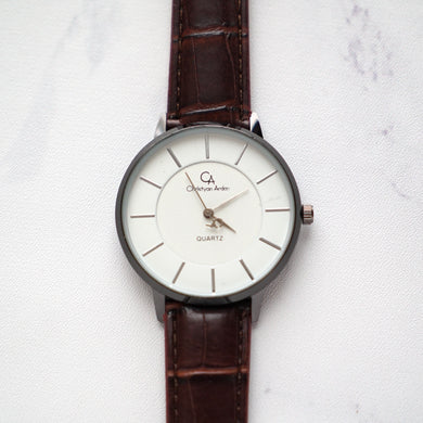 Christyan Arden Leather CA0028 Brown - White Dial (Wanita)