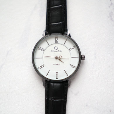 Christyan Arden Leather CA0027 Black - White Dial (Wanita)