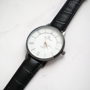 Christyan Arden Full Grain Leather CA0027 Black - White Dial (Wanita)