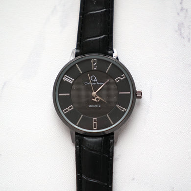 Christyan Arden Leather CA0027 Black - Black Dial (Wanita)