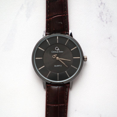 Christyan Arden Leather CA0028 Brown - Black Dial (Pria)