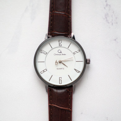 Christyan Arden Leather CA0027 Brown - White Dial (Pria)