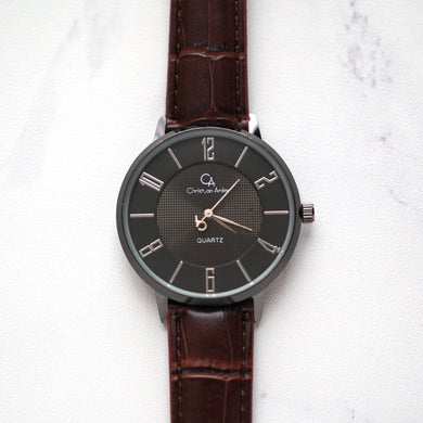 Christyan Arden Leather CA0027 Brown - Black Dial (Pria)