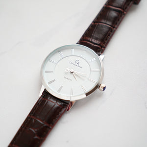 Christyan Arden Full Grain Leather CA0010 Brown - White Dial (Wanita)