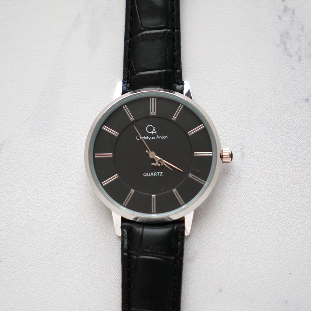 Christyan Arden Full Grain Leather CA0001 Black - Black Dial (Pria)