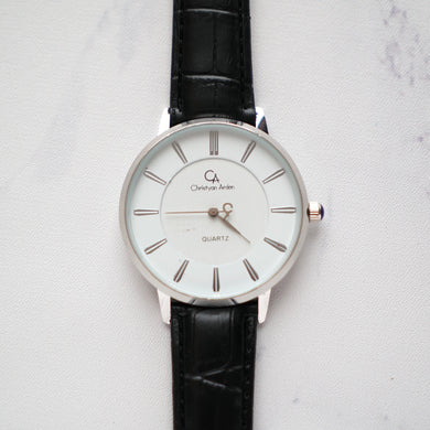 Christyan Arden Leather CA0010 Black - White Dial (Pria)