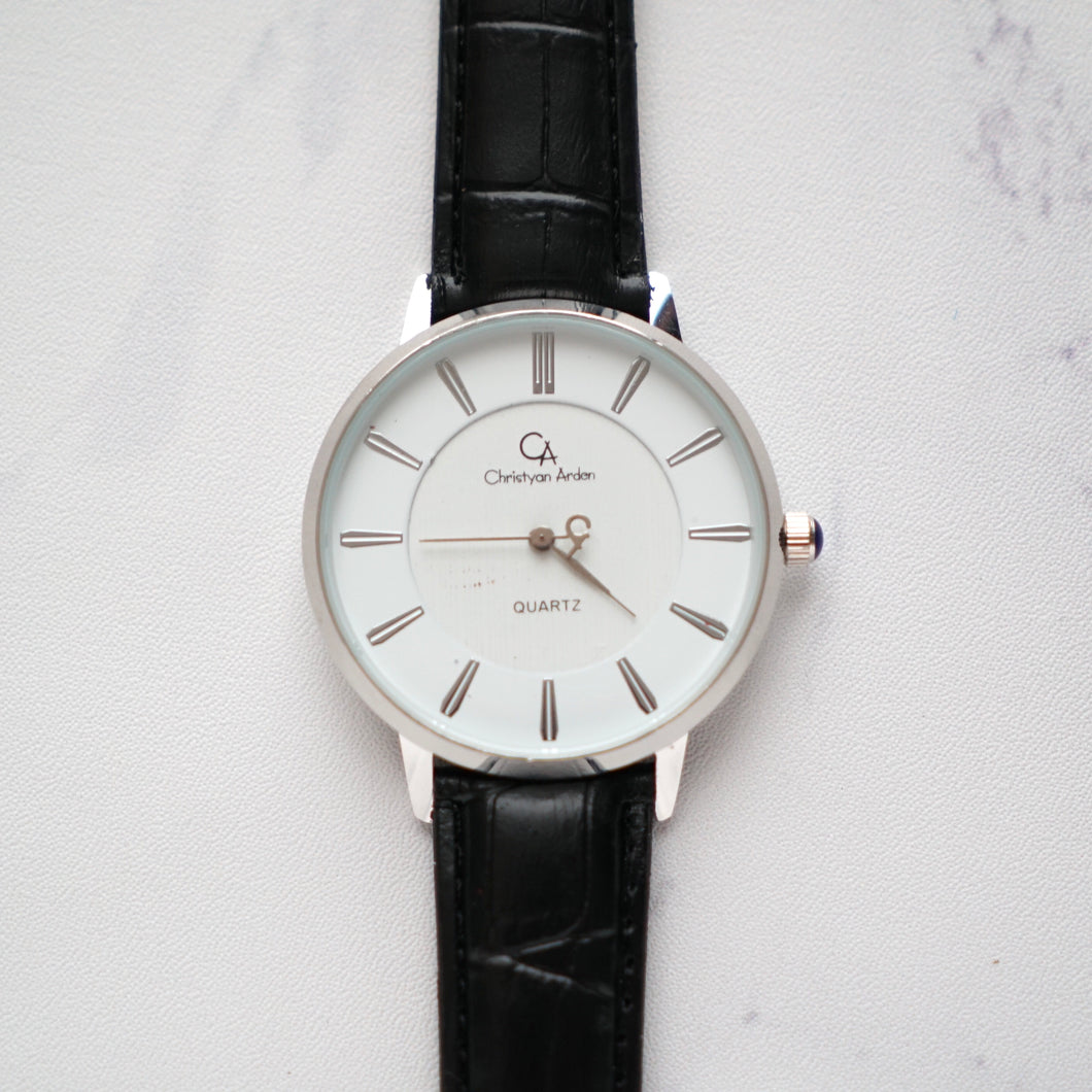 Christyan Arden Full Grain Leather CA0010 Black - White Dial (Pria)