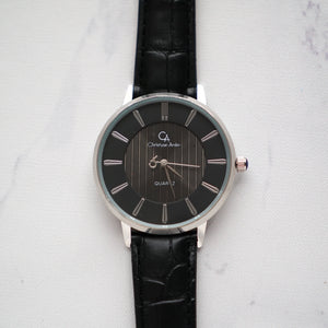 Christyan Arden Full Grain Leather CA0010 Black - Black Dial (Wanita)