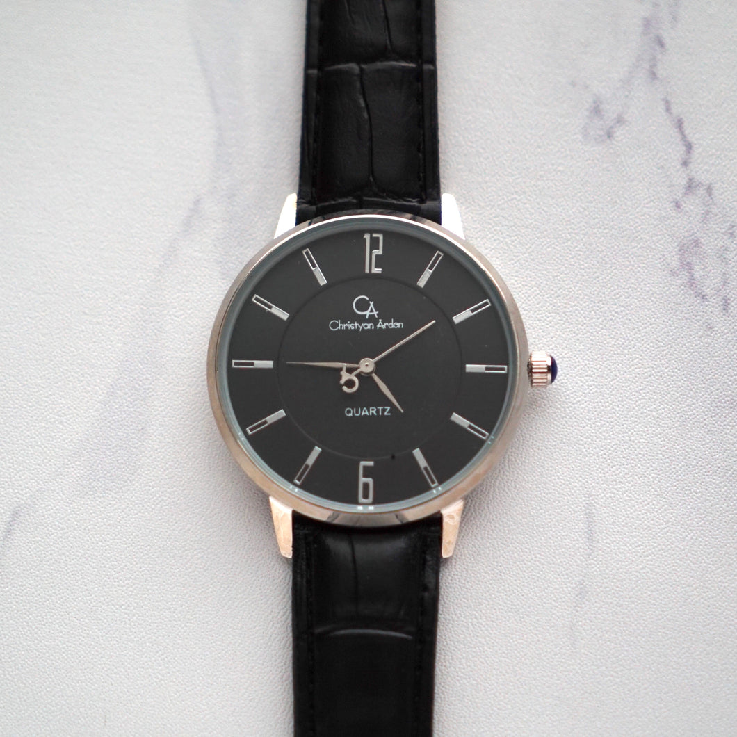 Christyan Arden Full Grain Leather CA0004 Black - Black Dial (Pria)