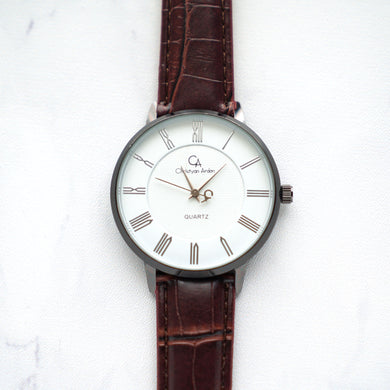 Christyan Arden Leather CA0026 Brown - White Dial (Wanita)