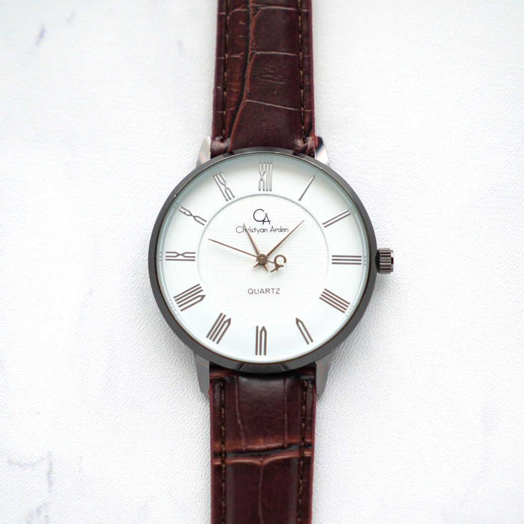 Christyan Arden Full Grain Leather CA0026 Brown - White Dial (Wanita)