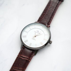 Christyan Arden Full Grain Leather CA0026 Brown - White Dial (Pria)
