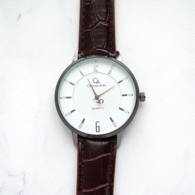 Christyan Arden Leather CA0024 Brown - White Dial (Pria)