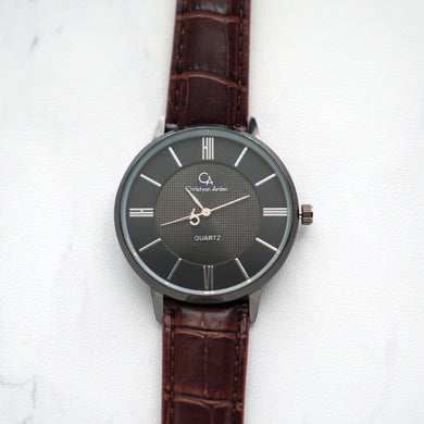 Christyan Arden Leather CA0025 Brown - Black Dial (Pria)