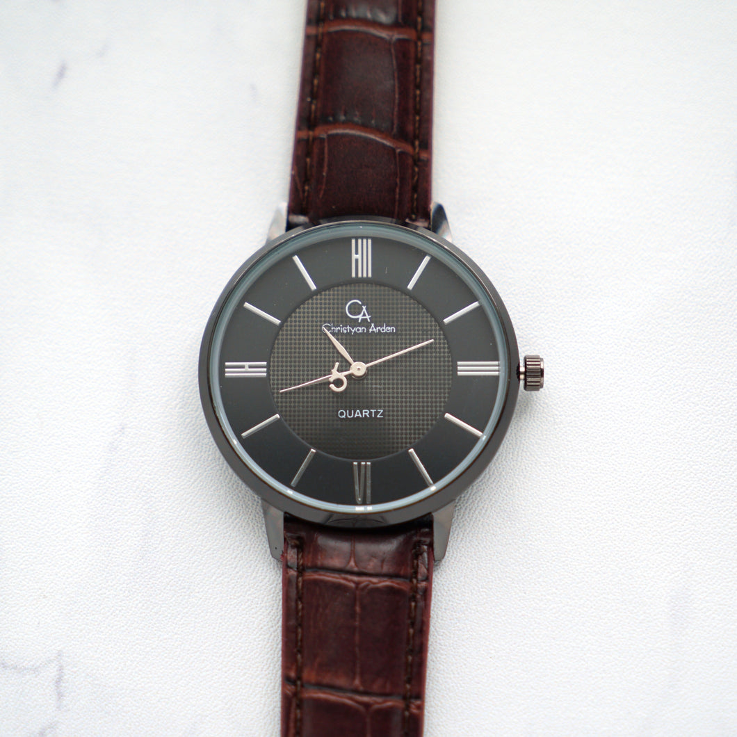 Christyan Arden Full Grain Leather CA0025 Brown - Black Dial (Pria)