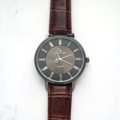 Christyan Arden Leather CA0022 Brown - Black Dial (Pria)