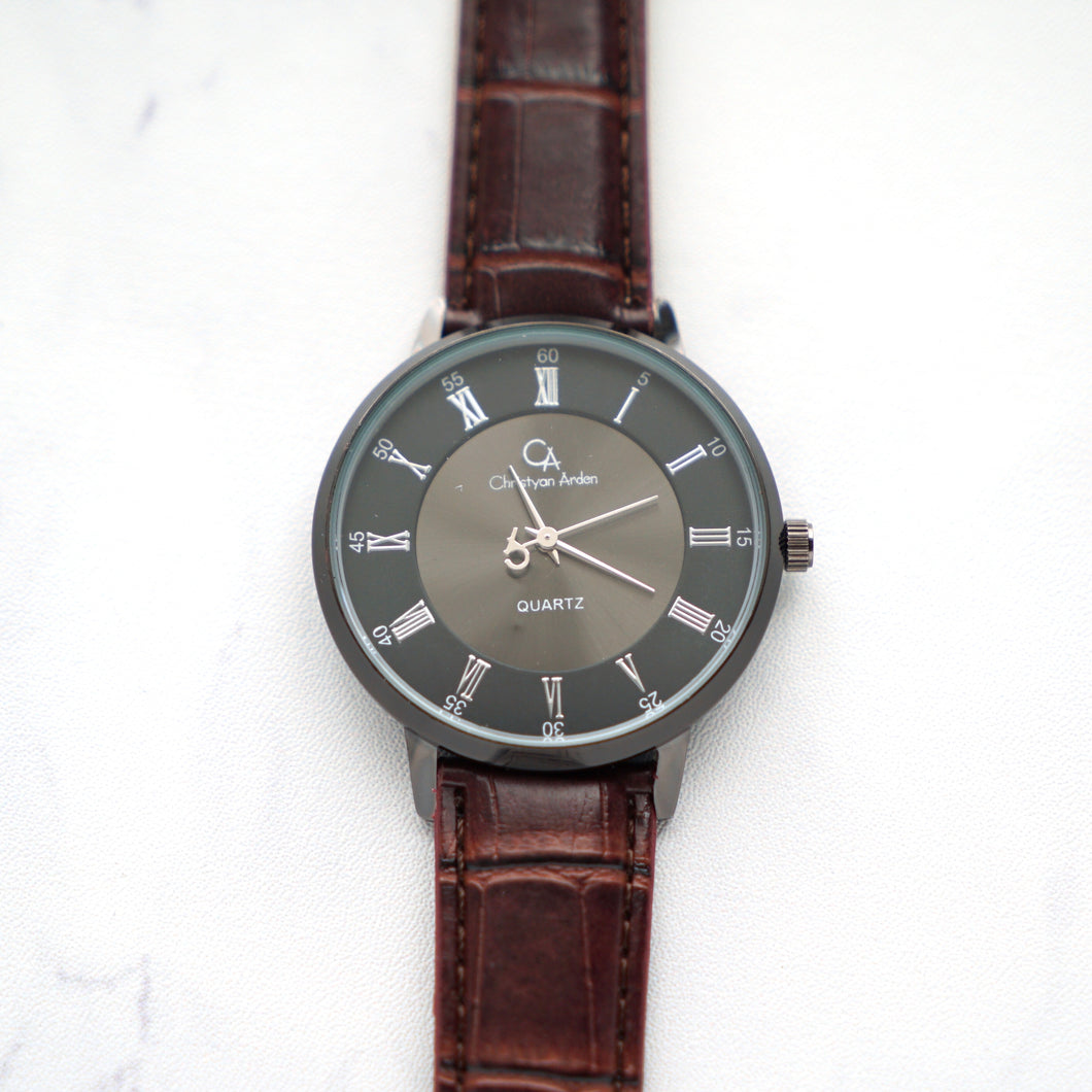 Christyan Arden Full Grain Leather CA0022 Brown - Black Dial (Wanita)